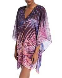 Carmen Marc Valvo Rain Forest Printed Caftan Coverup Purple