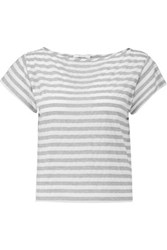 Milly Striped Cotton Blend T Shirt Gray