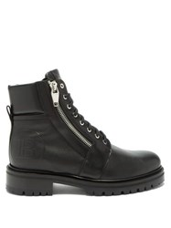 Balmain Logo Embossed Leather Ranger Boots Black