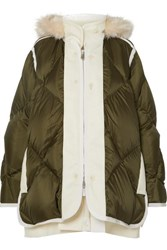 Sacai Layered Faux Fur Trimmed Quilted Ripstop And Wool Down Coat Army Green