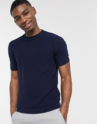 Topman Knitted T Shirt In Navy