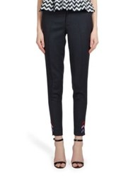 Mary Katrantzou Skinny Wool Twill Trousers Navy