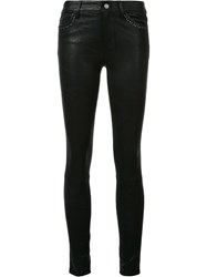 Paige Leather Effect Skinny Trousers Black