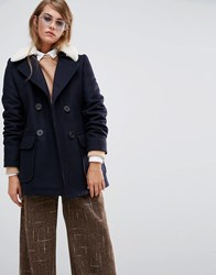 Gloverall Reefer Coat With Real Shearling Collar Navy