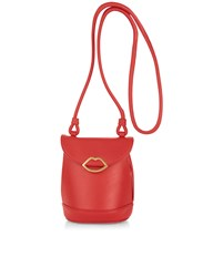 Lulu Guinness Red Leather Joanna Cross Body Bag Pink