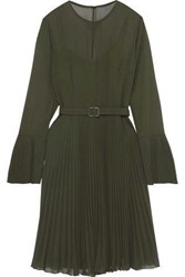Mikael Aghal Woman Belted Pleated Georgette Dress Leaf Green