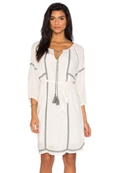 Velvet By Graham And Spencer Cristal Embroidered Crepe Shift Dress White