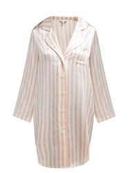 Morgan Lane Jillian Striped Silk Charmeuse Nightshirt Pink Stripe