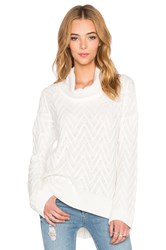 Three Dots Draped Turtleneck Tunic Sweater Ivory