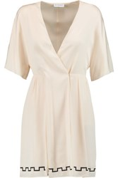 Vionnet Silk Blend Wrap Tunic Cream