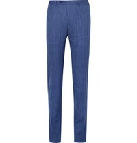 Canali Blue Slim Fit Wool Silk And Linen Blend Suit Trousers Blue