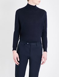 Canali Mock Turtleneck Wool Jumper Navy