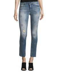 Brockenbow Lily Slim Straight Leg Cropped Jeans Blue