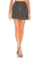 Astr Wilshire Skirt In Charcoal And Brown Stripe Gray
