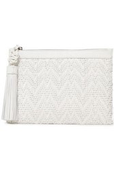 Michael Kors Collection Woman Loren Tasseled Woven Leather Clutch White