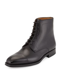 Magnanni Leather Cap Toe Ankle Boot Black