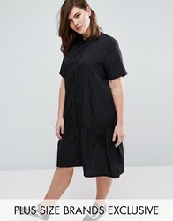 Daisy Street Plus Oversized Dress With Short Sleeve And Peplum Hem Black