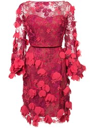 Marchesa Notte Lace Fitted Dress Red