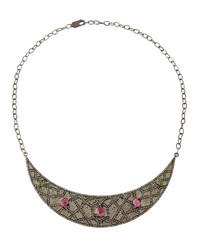 Bavna Multicolored Tourmaline And Diamond Crescent Bib Necklace Women's