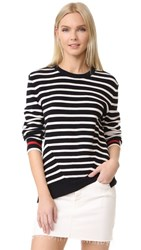 Chinti And Parker Breton Ribbed Sweater Navy Cream Red