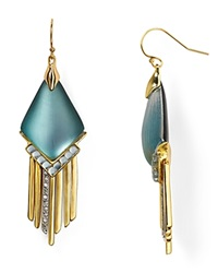 Alexis Bittar Lucite Fringed Chevron Cabochon Chandelier Earrings Montana