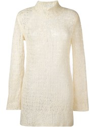 Comme Des Garcons Vintage Open Knit Jumper Nude And Neutrals