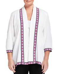 Misook Kennedy Geometric Trim 3 4 Sleeve Cardigan White Passion Fruit