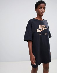 Nike Air Black Contrast Logo T Shirt Dress