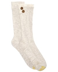 Gold Toe Women's 2 Pk. Cable Buttons Crew Socks Oatmeal Lace Solid Oatmeal