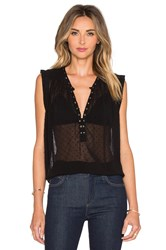 Amuse Society Cara Woven Blouse Black Sands