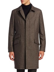 Saks Fifth Avenue Collection Single Breasted Wool Topcoat Brown
