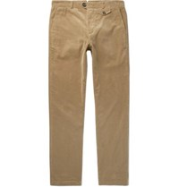 Oliver Spencer Fishtail Stretch Cotton Corduroy Trousers Tan