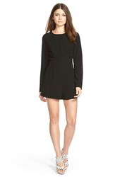 Women's Lucca Couture Long Sleeve Stretch Crepe Romper Black