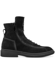 Bruno Bordese Lace Up Ankle Boots Leather Suede Rubber Black