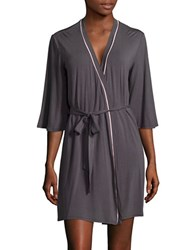 Pj Salvage Embroidered Three Quarter Sleeve Robe Grey