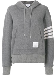 Thom Browne Double Faced Cashmere Pullover Hoodie Grey
