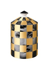 Fornasetti Scacco Gold Scented Candle With Lid Black Gold