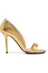 Charlotte Olympia Christine Metallic Leather Pumps Gold