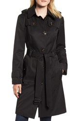 London Fog Knee Length Trench Coat Black