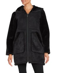 Gallery Hooded Sherpa Walker Coat Black