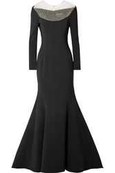 Reem Acra Pleated Embellished Tulle And Cady Gown Black