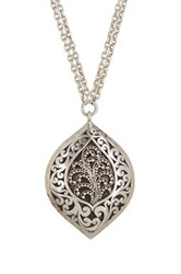Lois Hill Sterling Silver Cutout Granulated Bulb Pendant Necklace Metallic