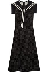 Dolce And Gabbana Crystal Embellished Polka Dot Cotton Blend Twill Dress Black