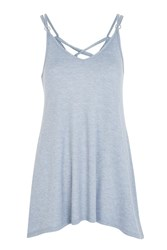 Topshop Lace Up Back Swing Dress Blue