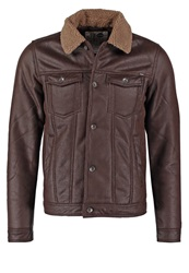 Solid Solan Faux Leather Jacket Cognac Brown