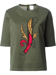 Stella Jean Intarsia Feather Shortsleeve Sweater Green