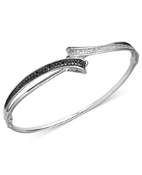 Macy's Black And White Diamond Bypass Bangle Bracelet In Sterling Silver 1 4 Ct. T.W.