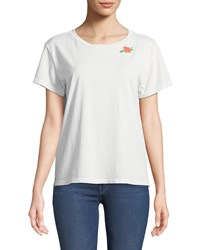 Mother Goodie Goodie Short Sleeve Boxy Cotton Tee W Embroidery Off White