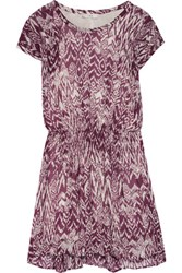 Iro Cantela Printed Georgette Mini Dress Plum
