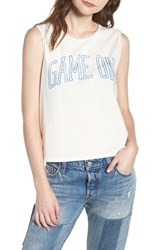 Junk Food Game On Muscle Tank Vintage White Blue